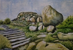 Santosh Loni watercolour landscape nature monument Santosh Loni ,Beauty of rocks,ART_715_15113,Artist : Santosh Loni,Water Colors