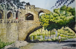 Bijapur monument Santosh Loni watercolour landscape Nature ,Bijapur monument,ART_715_15192,Artist : Santosh Loni,Water Colors