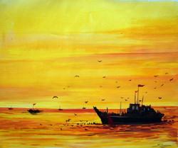 fishing boat,sunset,landscape,nature,,Fishing Boats at Sunset,ART_1232_14228,Artist : SAMIRAN SARKAR,Acrylic