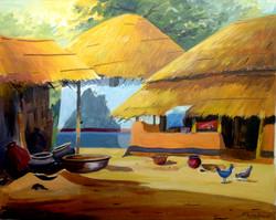village,rural,bengal,landscape,cottage,hut,Bengal Rural Cottage,ART_1232_14225,Artist : SAMIRAN SARKAR,Acrylic