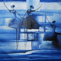 BlueLadies - 32in X 32in,FIZ019ABR_3232,Blue, Violet, Mauve,80X80,Modern Art Art Canvas Painting