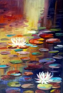 lotus,flower,floral,painting,canvas,acrylic,nature,,Lotus and Pond,ART_1232_15711,Artist : SAMIRAN SARKAR,Acrylic