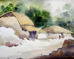 village,bengal,watercolor landscape,painting,paper,rural,hut,Beauty of Bengal Village II,ART_1232_15760,Artist : SAMIRAN SARKAR,Water Colors