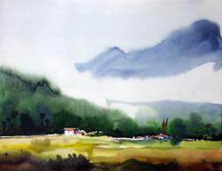 watercolor,landscape,mountain,Himalaya,paper,Beauty of Himalaya  Mountain ,ART_1232_15756,Artist : SAMIRAN SARKAR,Water Colors