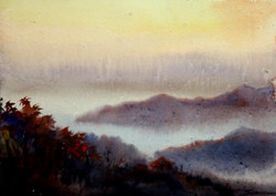 mountian,landscape,watercolor,paper,evening,nature,Himalaya,Evening Mountain Himalaya,ART_1232_15753,Artist : SAMIRAN SARKAR,Water Colors