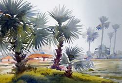 village,bengal,watercolor landscape,painting,paper,rural,Beauty of Bengal Village,ART_1232_15747,Artist : SAMIRAN SARKAR,Water Colors