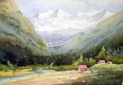 watercolor,landscape,mountain,Himalaya,paper,Himalaya Mountain Landscape,ART_1232_15746,Artist : SAMIRAN SARKAR,Water Colors