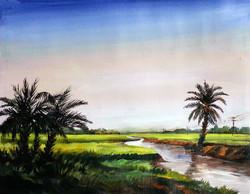 village,landscape,palm tree,acrylic on canvas,painting,nature,Rural River & Palm Trees,ART_1232_15719,Artist : SAMIRAN SARKAR,Acrylic