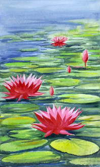lotus,flower,floral,painting,canvas,acrylic,nature,water,,Beauty of Lotus,ART_1232_15718,Artist : SAMIRAN SARKAR,Acrylic
