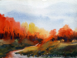 mountian,landscape,watercolor,paper,evening,nature,Himalaya,Beauty of Autumn Forest,ART_1232_15800,Artist : SAMIRAN SARKAR,Water Colors