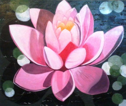 Innocence - 24in X 20in (Canvas Board),ART_GAMN4_2420,Acrylic Colors,Canvas,Artist Geeta Mohan,Museum Quality - 100% Handpainted,Floral,Beautiful Lotus,Pink Lotus,Black Background - Buy Online Painting in India.