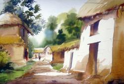 village,bengal,watercolor landscape,painting,paper,rural,hut,Beauty of Bengal Village,ART_1232_15827,Artist : SAMIRAN SARKAR,Water Colors
