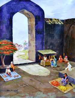 Golden Light02 - 24in X 30in,ART_ALMN9_2430,Village,Gaon,Nature,Greenary,town,Acrylic Color,Canvas,Anil Mahajan,Museum Quality - 100% Handpainted