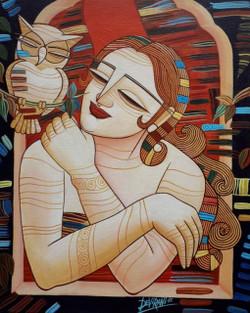 ,Sleepless Night,ART_836_5569,Artist : Debkumar Bhattacharyya (Seller),Acrylic