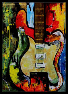 ,abstract guitar,ART_1033_4583,Artist : PARESH MORE,acrylic on canvas