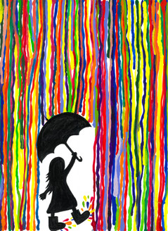 RAIN,UMBRELLA,RAINY DAY,JOY,ENJOYMENT,MULTICOLOR,RAINFALL,COLORS,SPLASH OF COLORS,ART_1926_15980,Artist : Renuka Bhandarkar,Acrylic