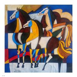 HORSE,  FANGSUI, MODERN ART ,HORSE 2,ART_1033_16231,Artist : PARESH MORE,Acrylic