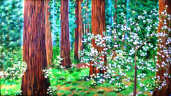 Forest Land - 32in X 18in,ART_PDBI11_3218,Flower,Floral,Green,Oil Colors,Canvas,Artist P.K Bedi,Museum Quality,Forestry,Wild life - 100% Handpainted - Buy Online Painting in India.