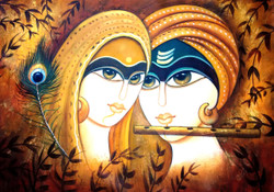 ,Rajasthani Radha Krishna Romance,ART_1229_2676,Artist : Pallavi Jain,Acrylic