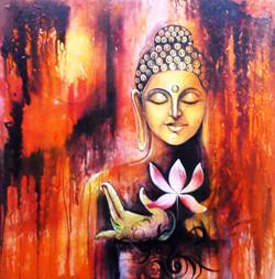 ,Lotus Buddha,ART_1229_2256,Artist : Pallavi Jain,Acrylic