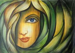 ,Floral Face,ART_1229_2222,Artist : Pallavi Jain,Acrylic