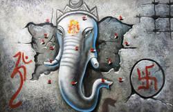 ,3D Ganesha,ART_1229_2221,Artist : Pallavi Jain,Acrylic