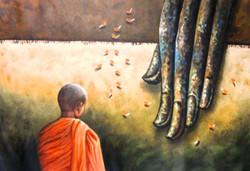 ,Buddha Monk 2,ART_1229_1984,Artist : Pallavi Jain,Acrylic