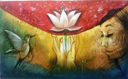 ,Lotus lady,ART_1229_739,Artist : Pallavi Jain,Acrylic