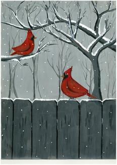 Cardinal, Birds,snow,Cardinal Birds,ART_1993_16445,Artist : Vani Venna,Acrylic