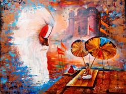 white,orange,golden,blure,Banaras ghat,ART_82_16736,Artist : Arjun Das,Acrylic