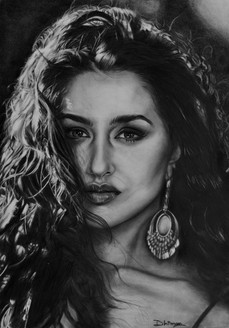 shraddha kapoor, sketch, portrait, pencil, charcoal, realistic, hyperrealistic, art, portrait, graphite, realism, celebrity,Shraddha Kapoor,ART_2133_17232,Artist : Dhiman Roy,Pencil