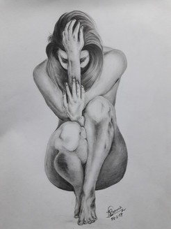 Nude women, nude, humiliated, tortured, pained women,Pained,ART_2074_16838,Artist : Naruttam Boruah,Charcoal