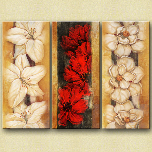FlowerValley - 48in X 36in,25GRP373_4836,Multi-Color,120X90 Size,Multi Panel Art Canvas Painting,multipiece