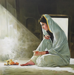 Lady,prayer,Deep Thought,kamal rao,oil on canvas,girl,devotion,thought,Lady,ART_640_8930,Artist : Kamal Rao,Oil