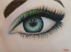 Emerald eye, eye painting, oil painting, green eye, blue eye, portrait,Emerald eye,ART_976_12198,Artist : Goutami Mishra,Oil