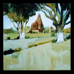 Khajuraho landscape 02 (ART_1391_18777) - Handpainted Art Painting - 12in X 12in
