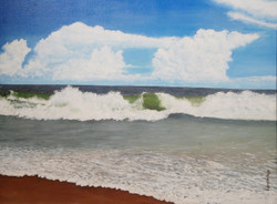 Seascape - 32in X 24in,ART_KERA2_3224,Acrylic Colors ,Artist Kishore Raja,Sea,Water - Buy painting Online in india