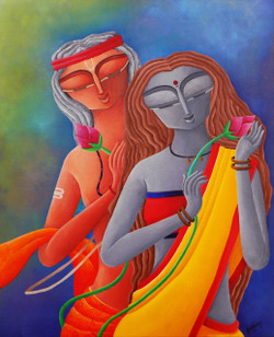 ROMMANCE,LOVE,EROTIC,FINE ART,MODERN ART,CONTEMPORARY ART,HOME DECOR,INTERIOR DECOR,INTERIOR DESIGN,BEDROOM PAINTING,INDIAN PAINTING,COLORFUL,COUPLE PAINTING,TEXTURED,,GIFT OF LOVE 2,ART_1323_18520,Artist : Debaditya  Sarkar,Acrylic