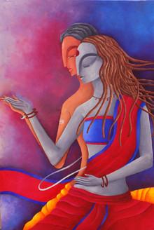ROMANCE, LOVE, EROTIC, modern art, Indian painting, fine art, abstract, figurative,DANCE OF LOVE,ART_1323_16831,Artist : Debaditya  Sarkar,Acrylic