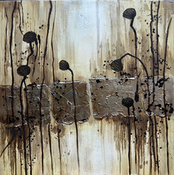 Abstract Art 34 - 39in X 39in (Framed),ART_SYM58_3939,Acrylic Colors, Small black flowers,Black Brown Stroke work, Colors,Magic of colors,Abstarct art,strokes designs,Community Artists Group,Museum Quality - 100% Handpainted