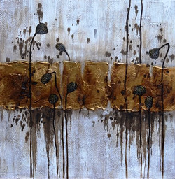 Abstract Art 35 - 39in X 39in (Framed),ART_SYM59_3939,Acrylic Colors, Small black flowers with golden patch ,Brown Stroke work, Colors,Magic of colors,Abstarct art,strokes designs,Community Artists Group,Museum Quality - 100% Handpainted
