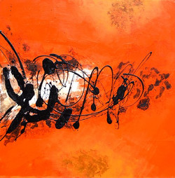 Abstract Art 36 - 39in X 39in (Framed),ART_SYM61_3939,Acrylic Colors, orangre splash, black Stroke work, Colors,Magic of colors,Abstarct art,strokes designs,Community Artists Group,Museum Quality - 100% Handpainted
