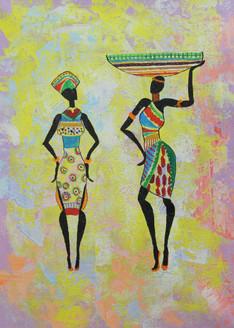 Figurative ,African Art 06,ART_1522_19909,Artist : Ram Achal,Acrylic