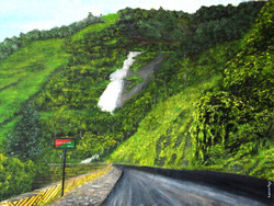 Thamarassery - 32in X 24in,ART_KERA21_3224,Artist Kishore Raja,road side view,nice landscape,greenary at street side,kerala special paintings - Buy painting Online in india