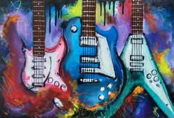 GUITAR PAINTING,Three Guitar painting,ART_2979_20481,Artist : MONALI GHULE,Acrylic