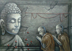 Buddha And Monk - 36in X 24in,ART_PIJN34_3624,Acrylic Colors,Buddha with Monk,Monk devote to buddha,Artist Pallavi Jain,Museum Quality - 100% Handpainted Buy Paintings Online in India
