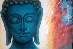 Buddha In Blue - 36in X 24in,ART_PIJN35_3624,Acrylic Colors,Buddha ,Blue shade buddha,Mediatation,Peace Artist Pallavi Jain,Museum Quality - 100% Handpainted Buy Paintings Online in India