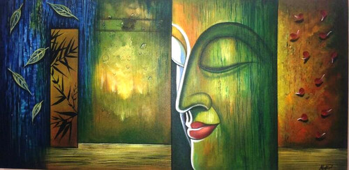 Buddha In Green - 36in X 24in,ART_PIJN36_3624,Acrylic Colors,Buddha ,Green  shade buddha,Mediatation,Peace Artist Pallavi Jain,Museum Quality - 100% Handpainted Buy Paintings Online in India