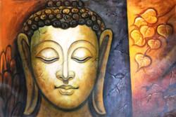 Buddha In Orange Leaf - 36in X 24in,ART_PIJN37_3624,Acrylic Colors,Buddha ,Orange leaf  shade buddha,Mediatation,Peace Artist Pallavi Jain,Museum Quality - 100% Handpainted Buy Paintings Online in India