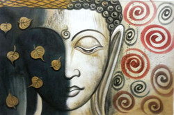 Buddha Shadow - 36in X 24in,ART_PIJN39_3624,Acrylic Colors,Buddha,Mediatation,Peace Artist Pallavi Jain,Museum Quality - 100% Handpainted Buy Paintings Online in India